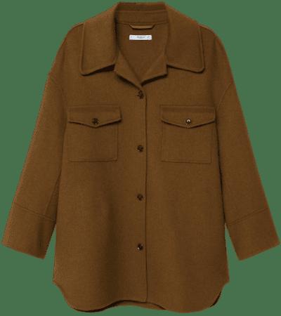 Brown Oversized Wool Jacket