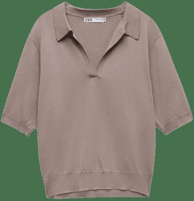 Brown Polo Collar Knit Sweater-Zara