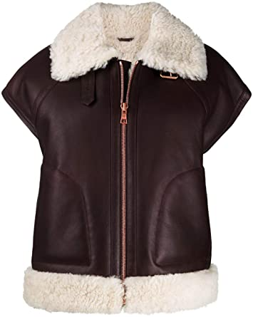 Brown Sheepskin Leather Shearling Gilet-JUFAH