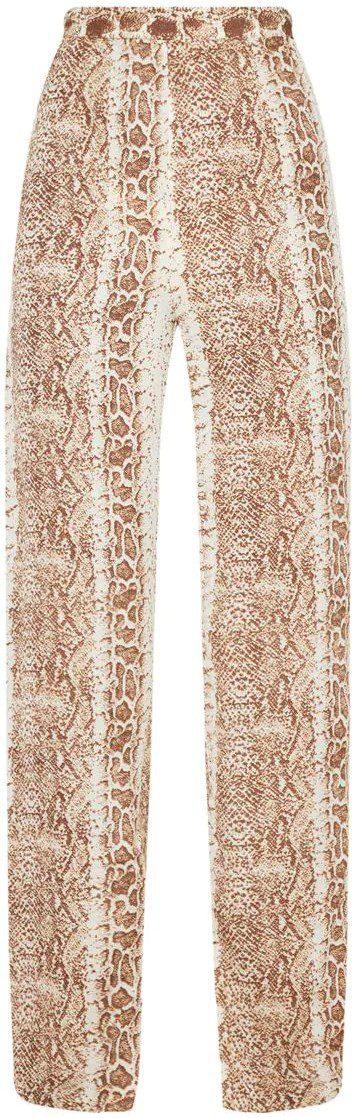 Brown Snake Print Wide Leg Pants-Prettylittlething