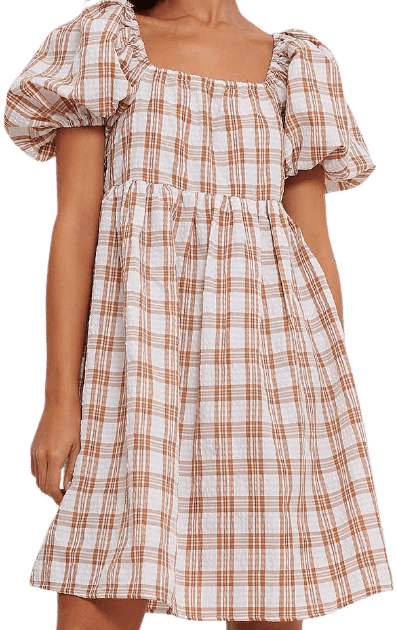 Brown Square Neck Seersucker Dress