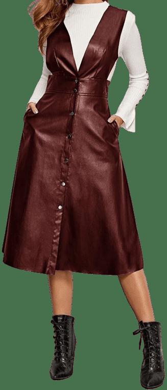 Burgundy V Neck PU Leather Pinafore Dress-Shein