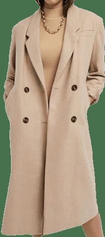 Camel Double Breasted Longline Coat-Asos Design