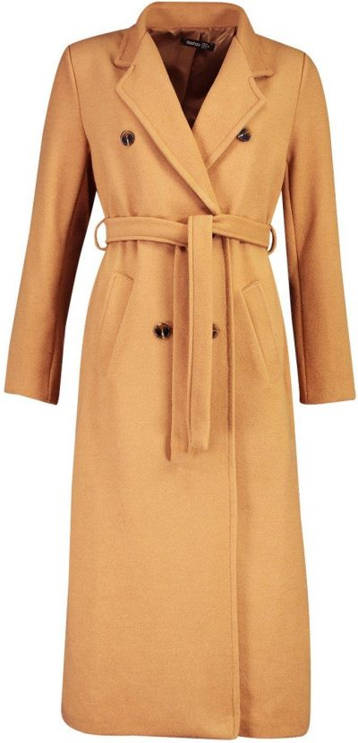 Camel Longline Double Breasted Belted Wool Coat-Boohoo