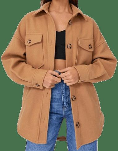 Camel Overshirt Shacket-Stradivarius