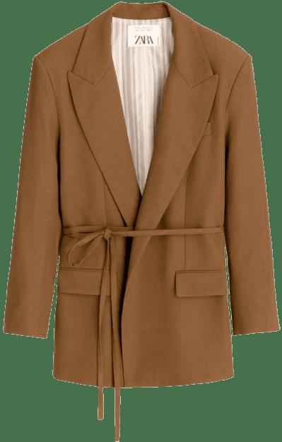 Camel Oversized Blazer-Zara