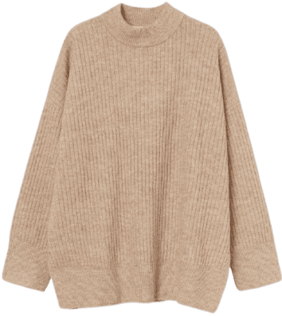 Camel Rib-Knit Sweater
