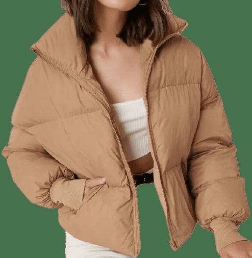 Camel Zip Up Puffer Jacket-Shein