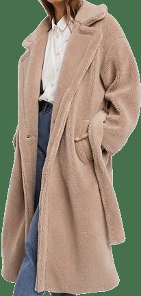 Caramel Teddy Oversized Belted Coat