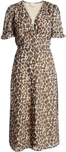 Carson Leopard Print Midi Dress-Heartloom