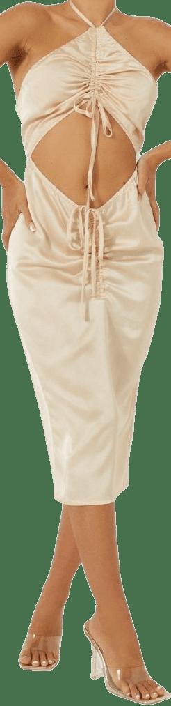 Champagne Cut Out Ruched Resort Midi Dress-Boohoo