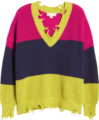 Chartreuse Navy Colorblock Distressed Sweater