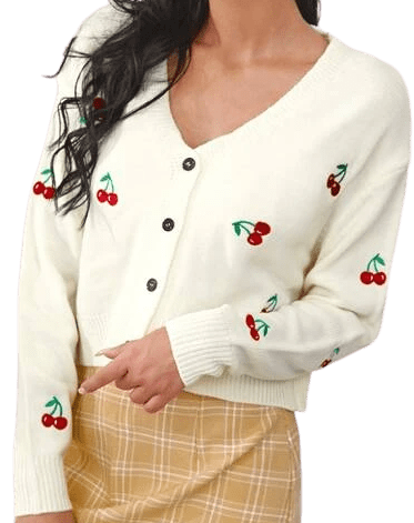 Cherry Embroidery Button Up Cardigan