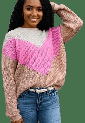 Chevron Colorblock Lightweight Sweater-Raelynn's Boutique