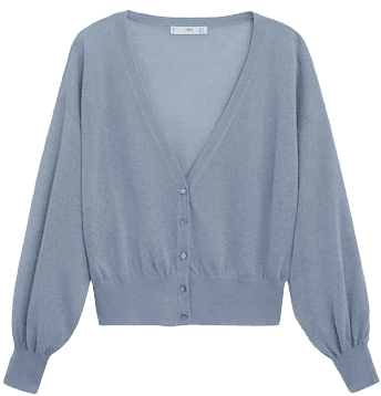 China Blue Fine-Knit Short Cardigan