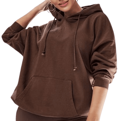 Chocolate Brown Drawstring Pocket Front Hoodie-Shein