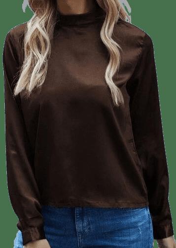 Chocolate Brown Mock Neck Satin Blouse-Shein