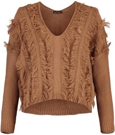 Chocolate Petite Fringe V-Neck Sweater
