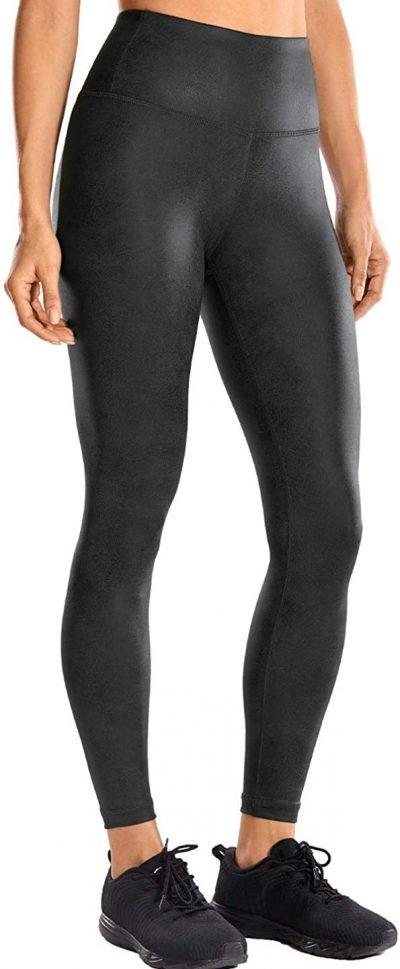 Coast Gray Faux Leather High-Waist Yoga Pants