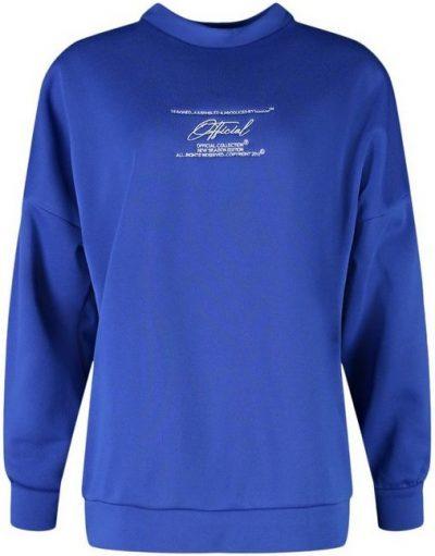 Cobalt Oversized Embroidered Sweatshirt-Boohoo
