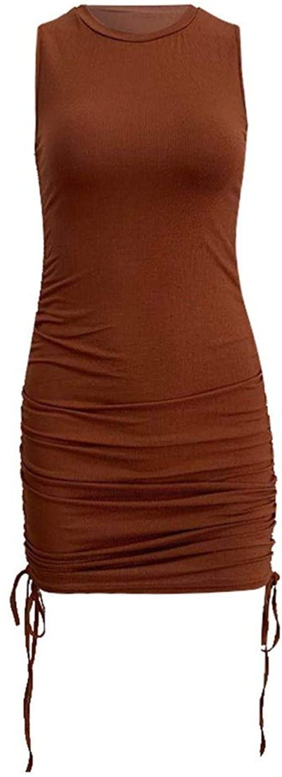 Coffee Drawstring Dress-CrazyFashion