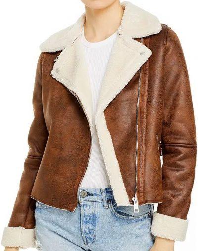 Cognac Faux Suede & Faux Shearling Moto Jacket-AQUA