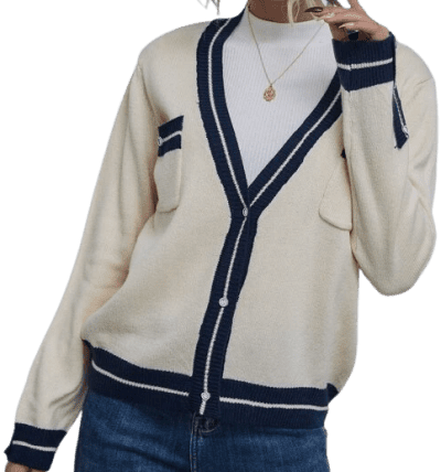 Contrast Trim Dual Pocket Button-Up Cardigan
