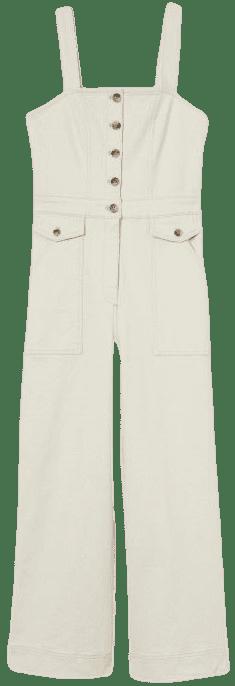 Cream Ankle-Length Twill Jumpsuit-H&M