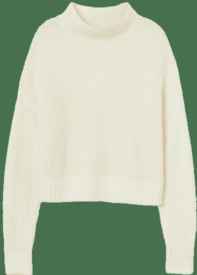 Cream Mock-Turtleneck Sweater