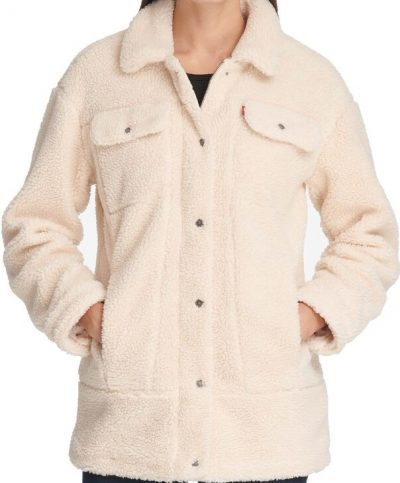 Cream Oversized Sherpa Trucker Jacket