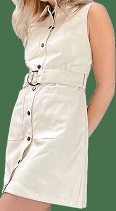 Cream Petite Faux-Leather Dress-Miss Selfridge