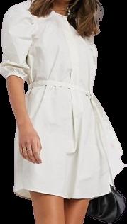 Cream Tall Puffed Sleeves Mini Dress