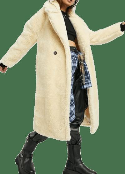 Cream Teddy Maxi Coat-Topshop