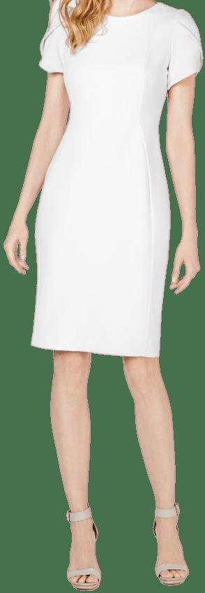Cream Tulip-Sleeve Sheath Dress-Calvin Klein