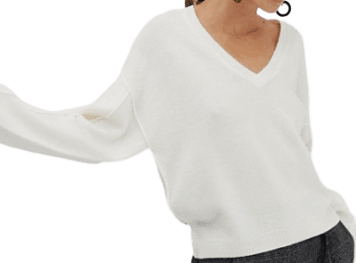 Cream V Neck Fluffy Sweater-Asos Design