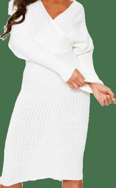 Cream Wrap Batwing Knitted Midi Dress