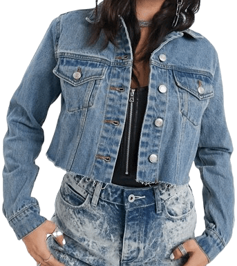 Cropped Blue Denim Jacket With Raw Hem-Signature 8