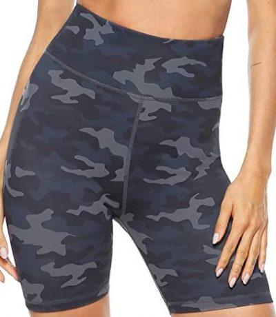 Deep Grey Camo High Waist Yoga Shorts-Persit