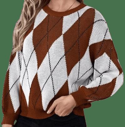 Drop Shoulder Argyle Pattern Sweater-Shein