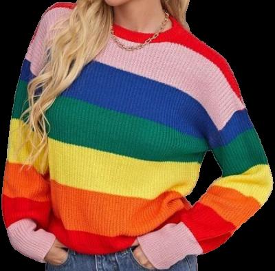Drop Shoulder Rainbow Striped Jumper-Shein