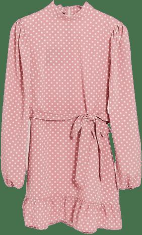 Dusky Pink Polka Dot Shift Dress With Tie Waist-Parisian