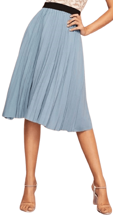 Dusty Blue Contrast Waist Pleated Skirt-Shein