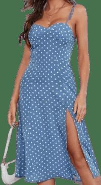 Dusty Blue High Split Hem Dress