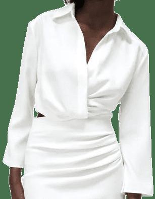 Ecru Pleated Cropped Top-Zara