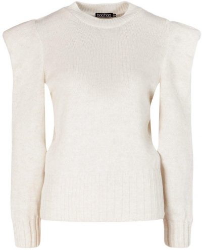 Ecru Shoulder Pad Sweater-Boohoo