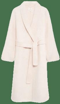 Ecru Woolen Coat With Belt-Mango