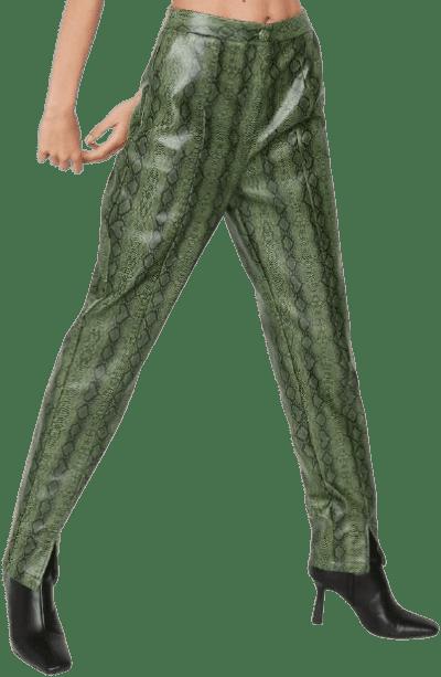 Faux Leather Snake Split Hem Pants-Nasty Gal