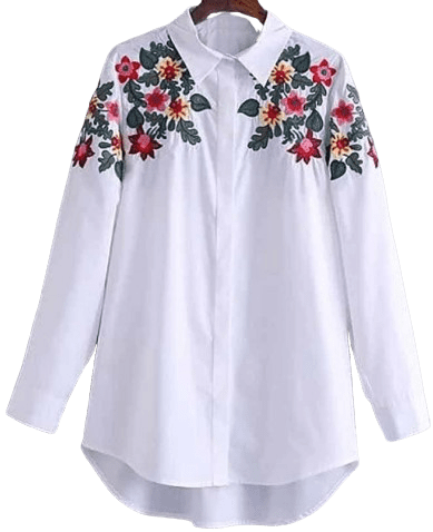 Floral Embroidered Long-Sleeves Button-Down Tunic Shirt