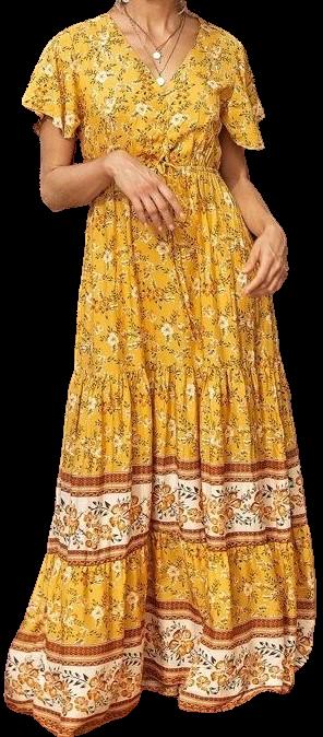 Floral Lace-Up Ruffle Hem Dress-Shein