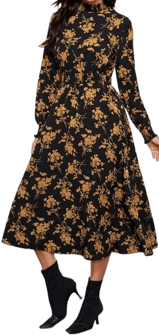 Floral Mock Neck Shirred Dress-Shein